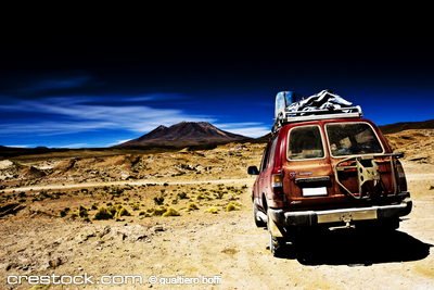 Bolivia , dramatic landscape, jeep desert and ...